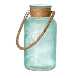 """Sea Glass Bottle with Twine in Green 7.87"""""""